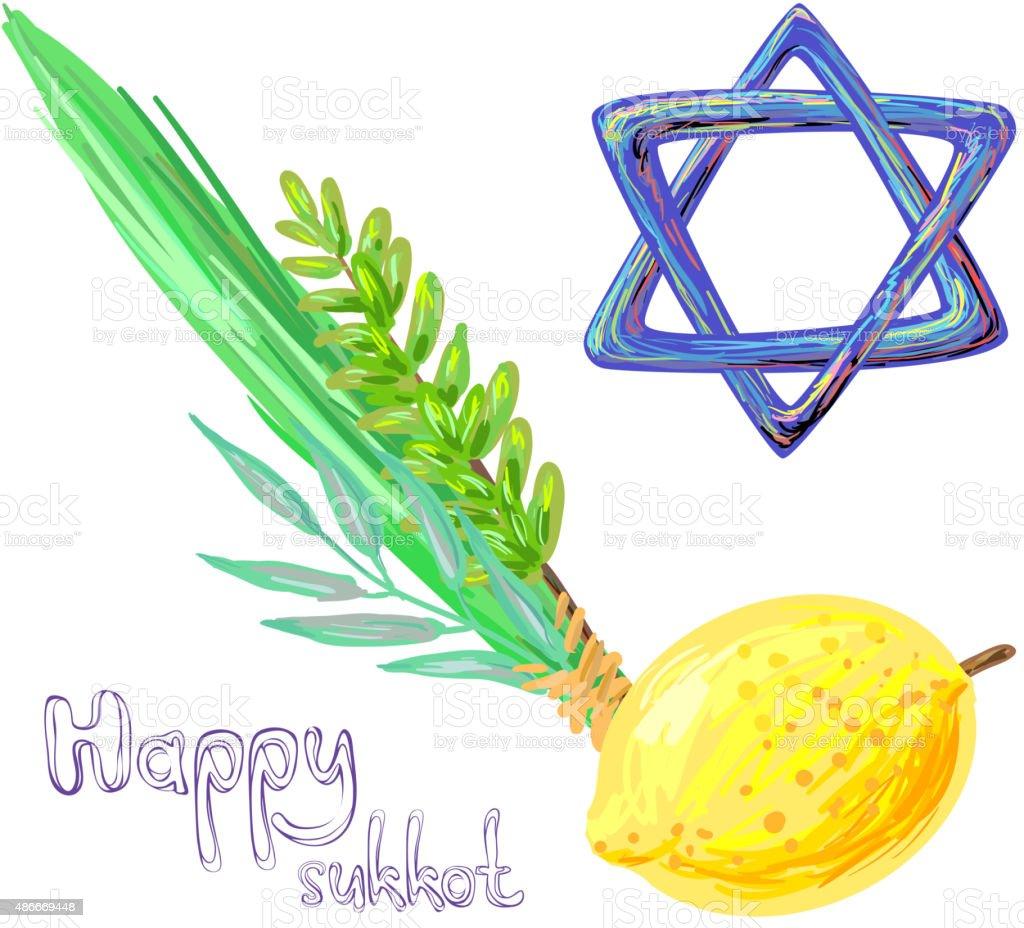 Happy Sukkot vector art illustration