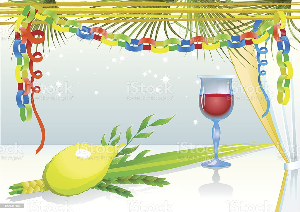 Happy Sukkot with glass of wine vector art illustration