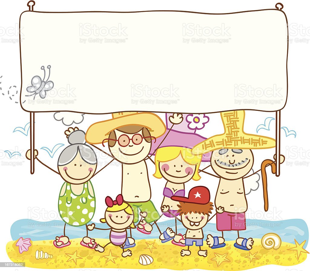 happy summer family with banner cartoon illustration vector art illustration