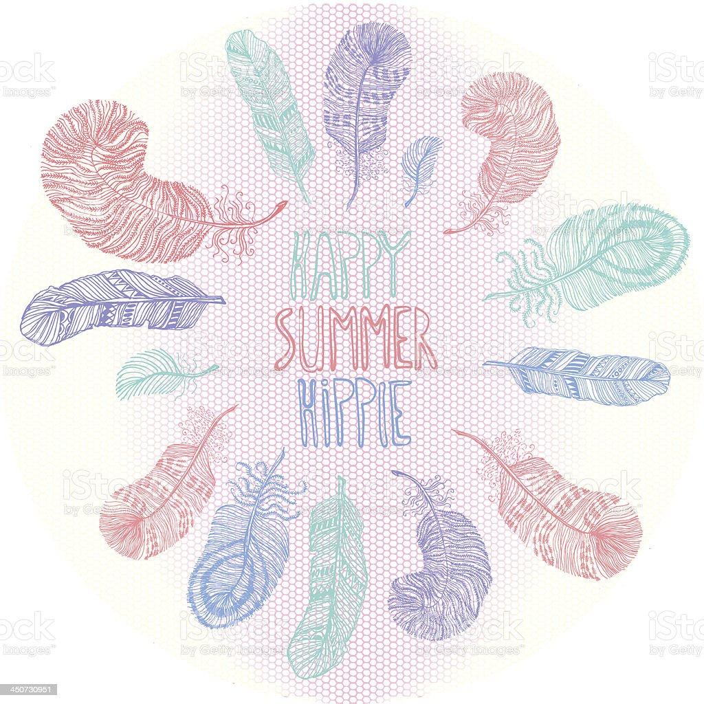 Happy. Summer. Hippie. Vector postcard. royalty-free stock vector art