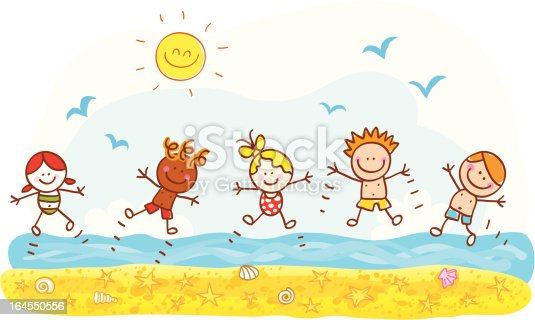Happy Summer Holidays Background Vector: Happy Summer Holiday Kids Jumping At Beach Ocean Cartoon