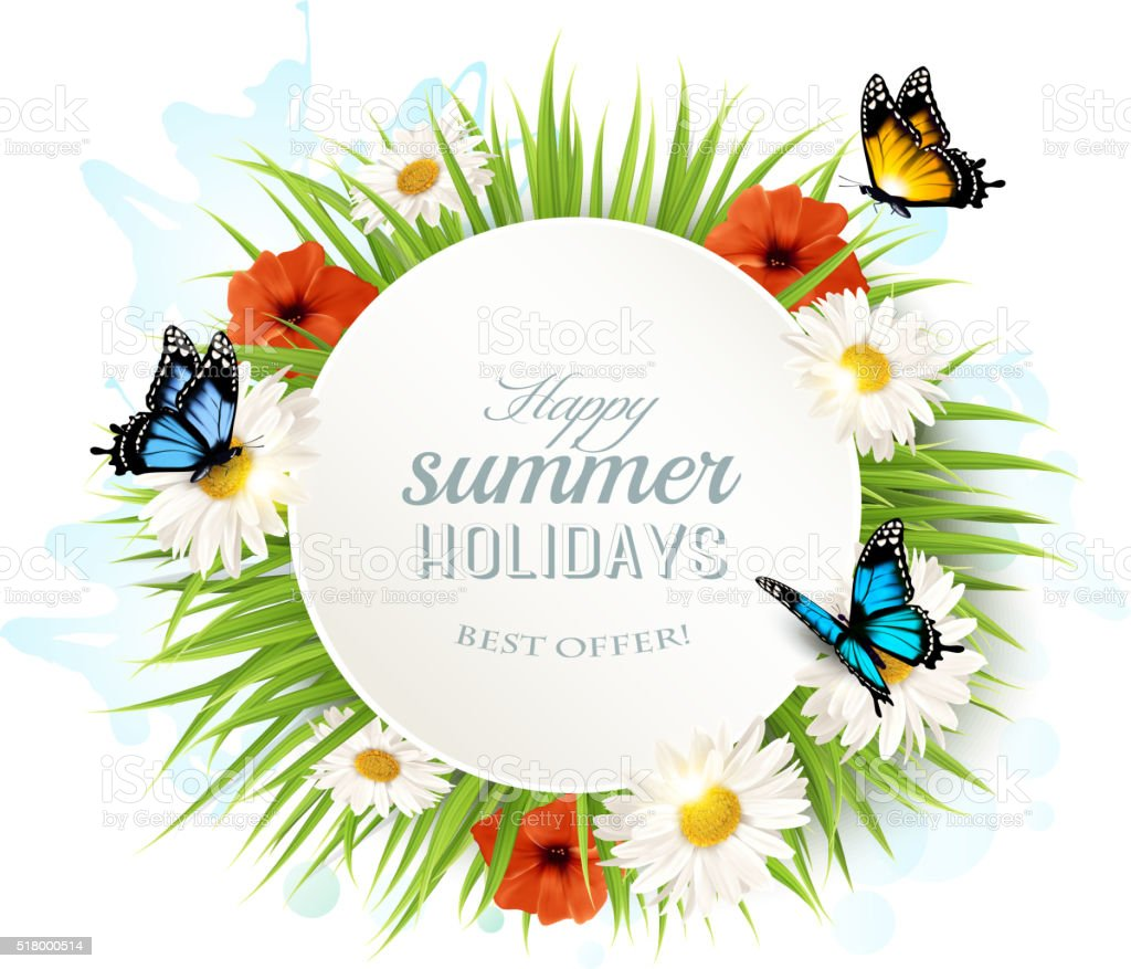 Happy summer holidays background with poppies, daisies and butte vector art illustration