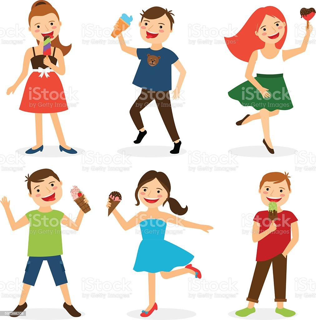 Happy summer kids eating ice cream vector art illustration