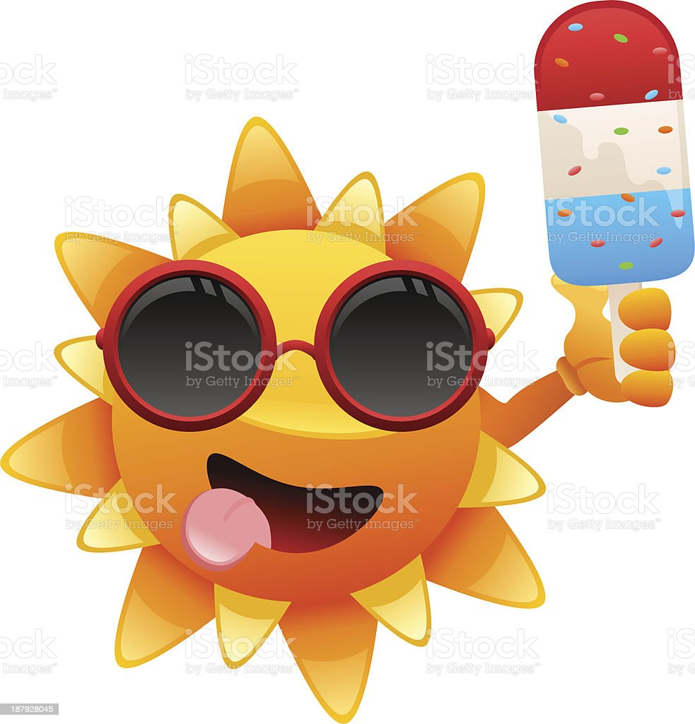 happy sun character with ice cream royalty-free stock vector art