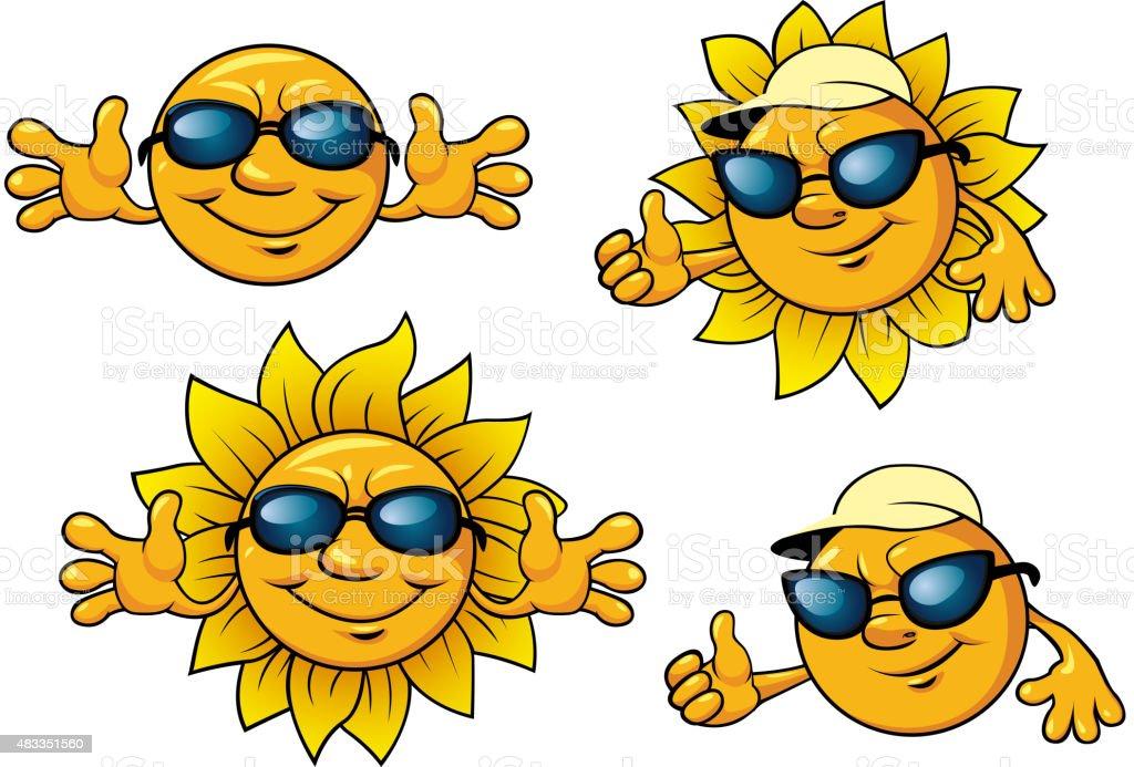 1063ee52d433 Счастливый солнце символы в солнцезащитные очки Сток Вектор Стоковая  фотография