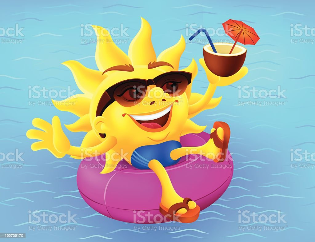 Happy sun on inflatable ring vector art illustration