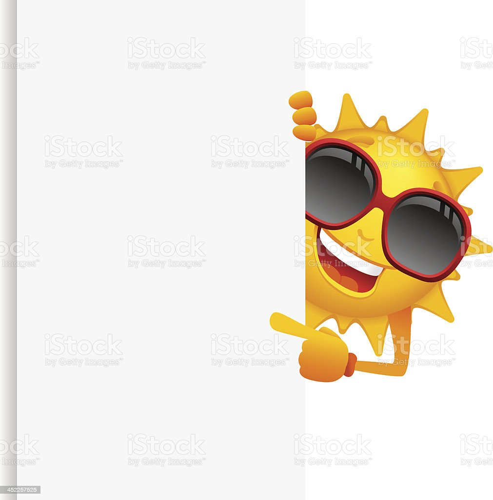 happy sun showing the paper royalty-free stock vector art
