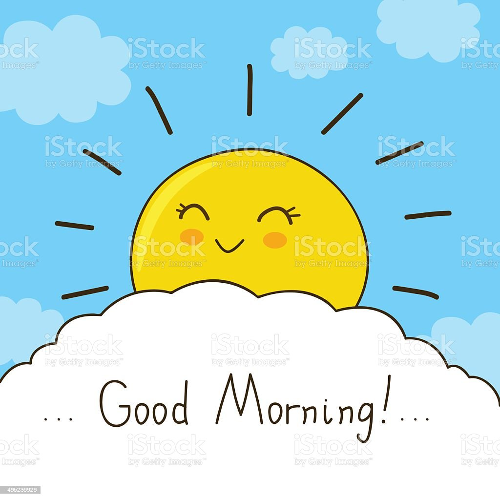 Happy Sun Wishes You Good Morning stock vector art ...