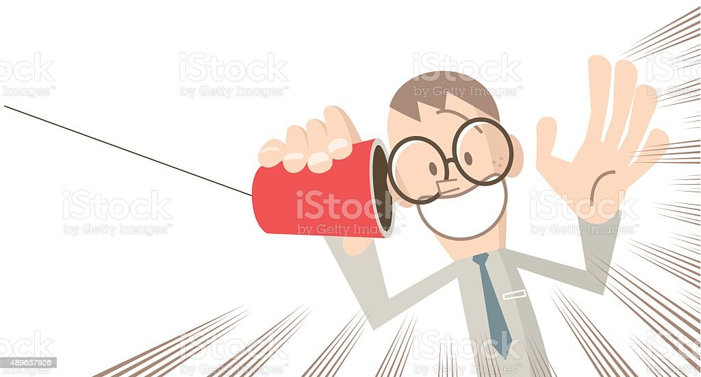 Happy surprised businessman on paper cup and string phone vector art illustration