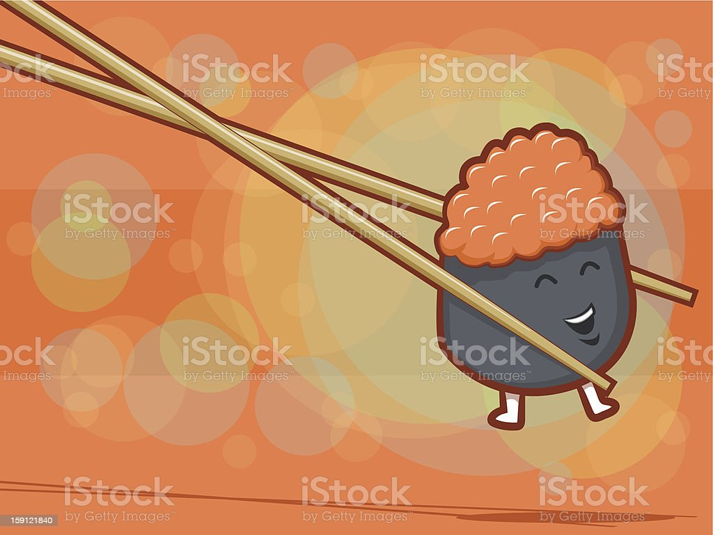 Happy Sushi Cartoon royalty-free stock vector art
