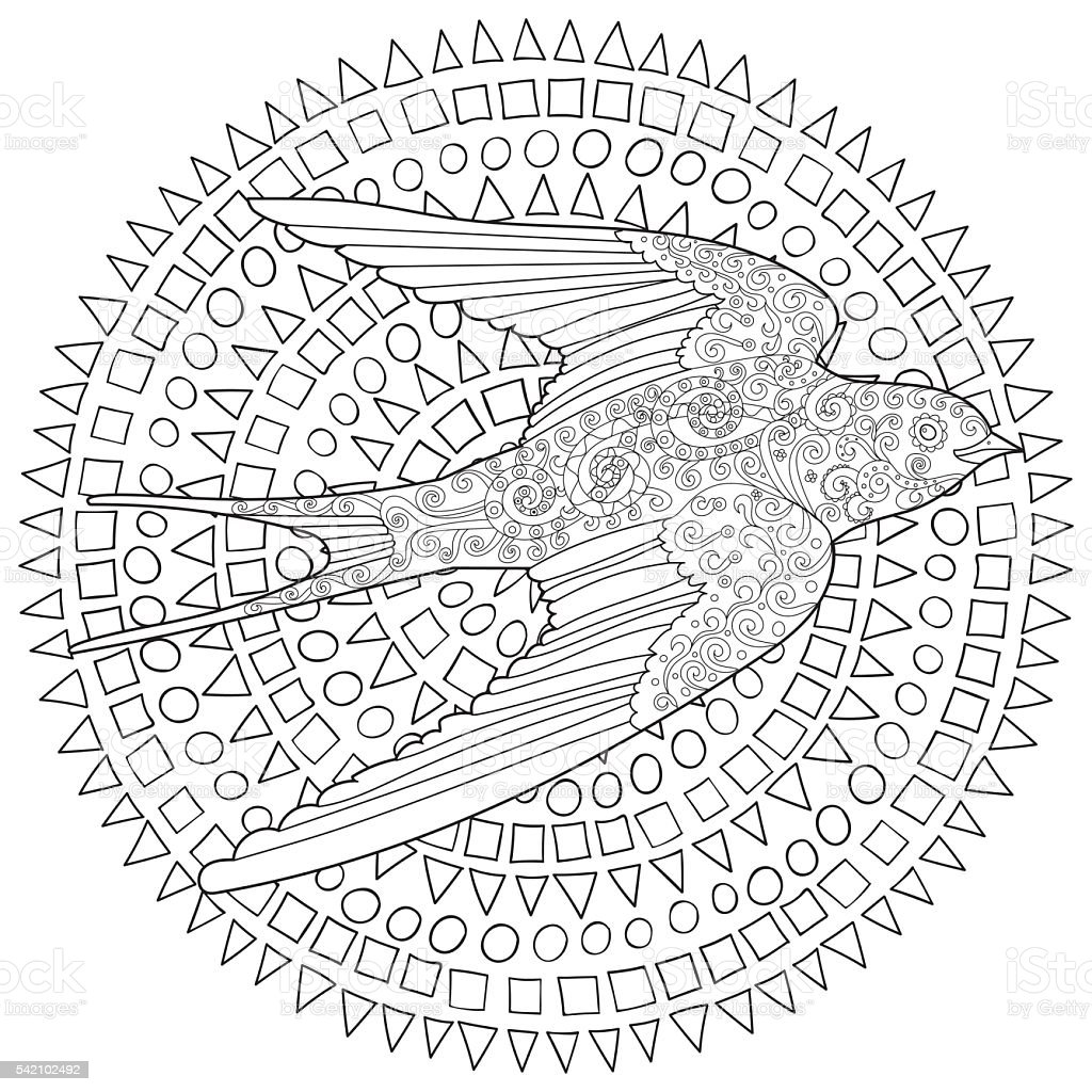 Happy swallow with high details. vector art illustration