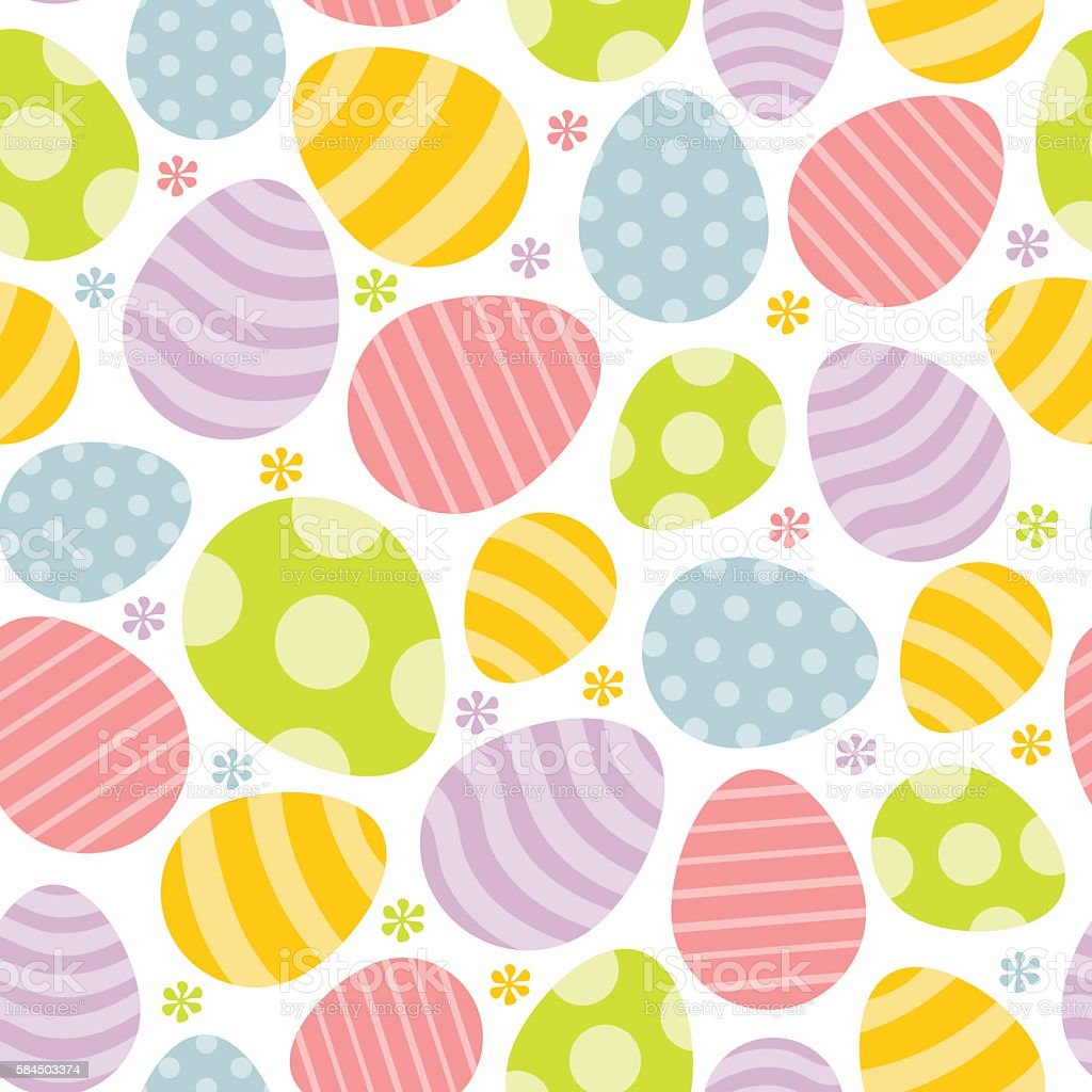 Happy Sweet Easter Eggs Seamless Pattern Background vector art illustration