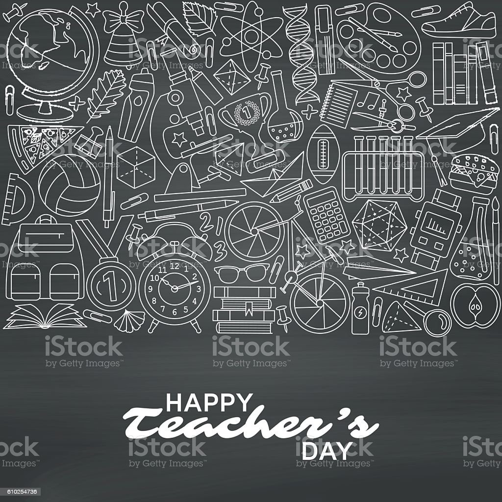 Happy Teachers Day background. Greeting card. Vector illustration. vector art illustration