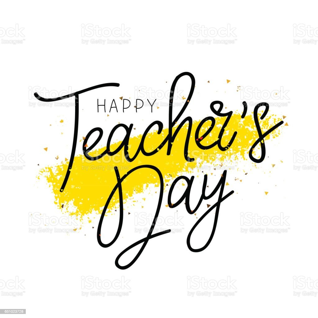 Happy teachers day calligraphy and lettering stock vector