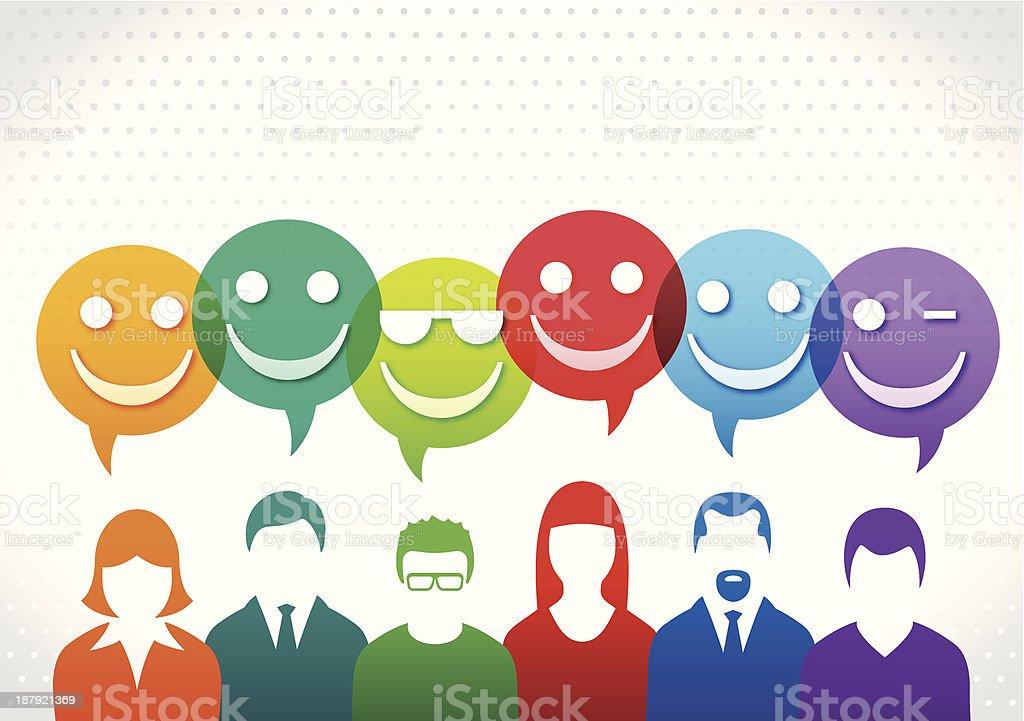 Happy Team vector art illustration