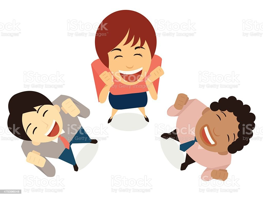 Happy teamwork vector art illustration