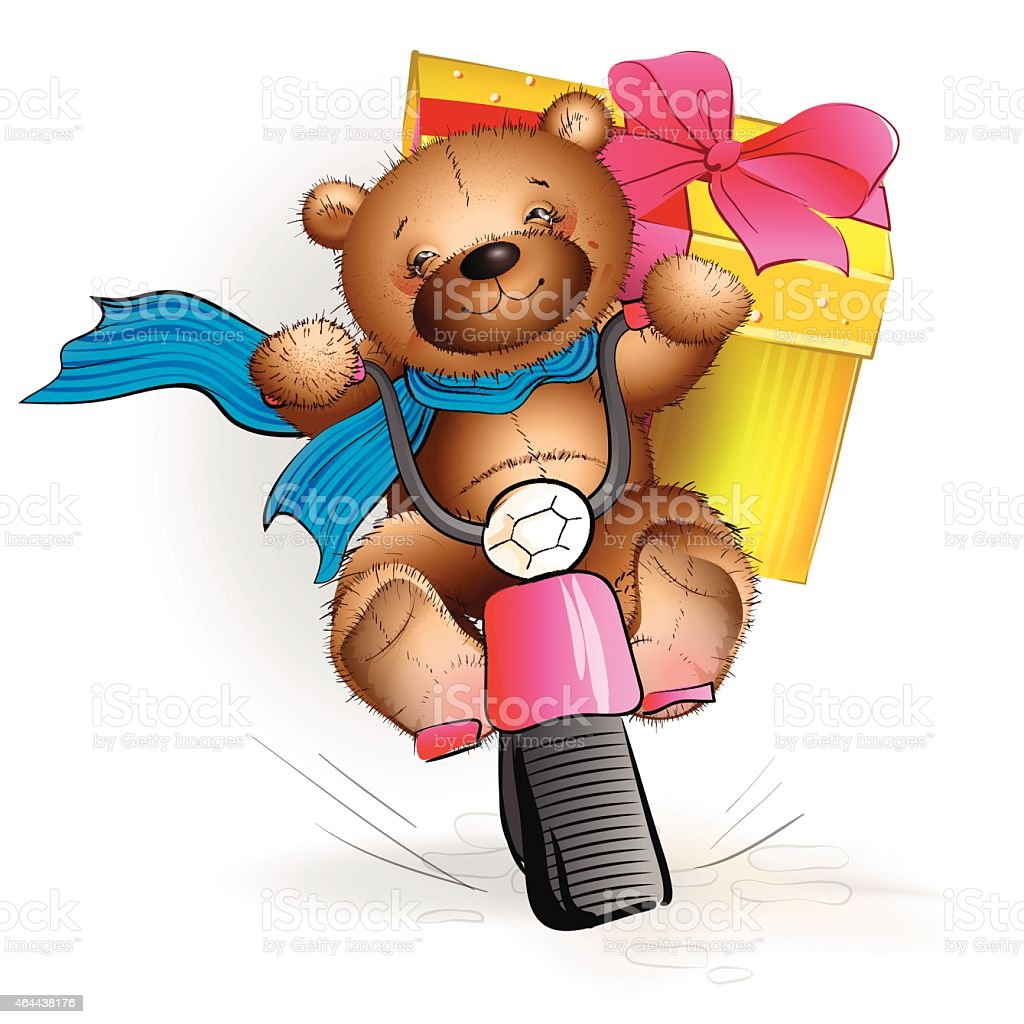 Happy Teddy bear riding a motorcycle with a gift vector art illustration
