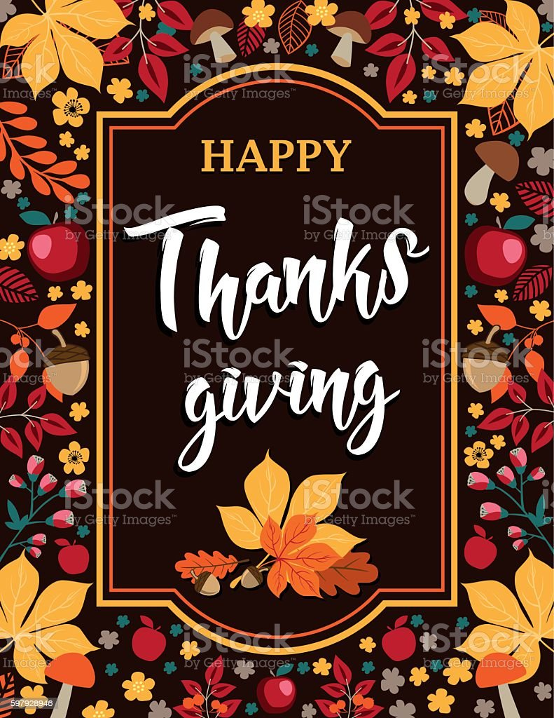 Happy Thanksgiving - Autumn background with leaves, mushrooms and apples vector art illustration