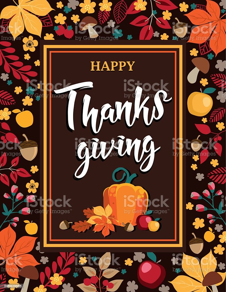 Happy Thanksgiving - Autumn background with leaves, pumpkin and apples vector art illustration