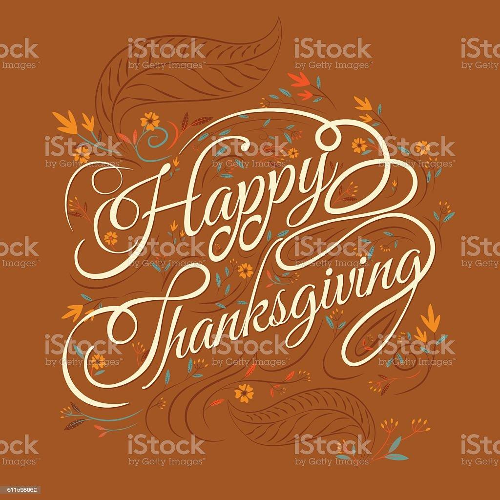 Happy  Thanksgiving, autumn vector art illustration