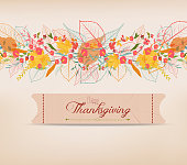 Happy Thanksgiving. Background of stylized autumn leaves for greeting card