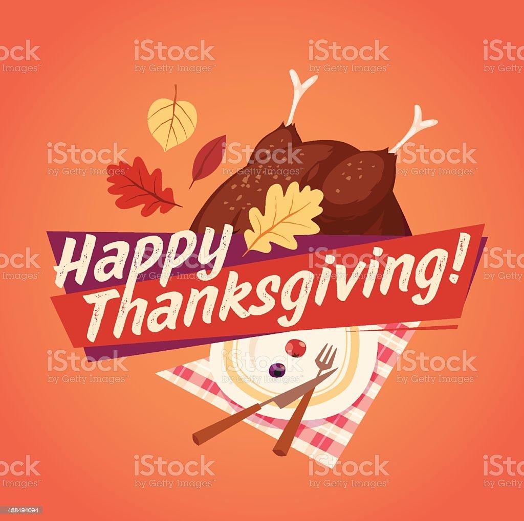 Happy Thanksgiving card, background, poster. Vector illustration. vector art illustration