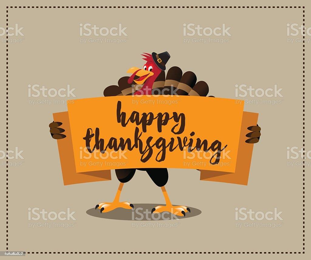 Happy Thanksgiving cartoon turkey holding banner vector art illustration