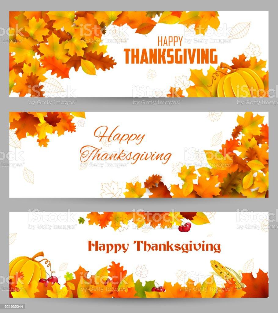 Happy Thanksgiving celebration background with maple leaf vector art illustration