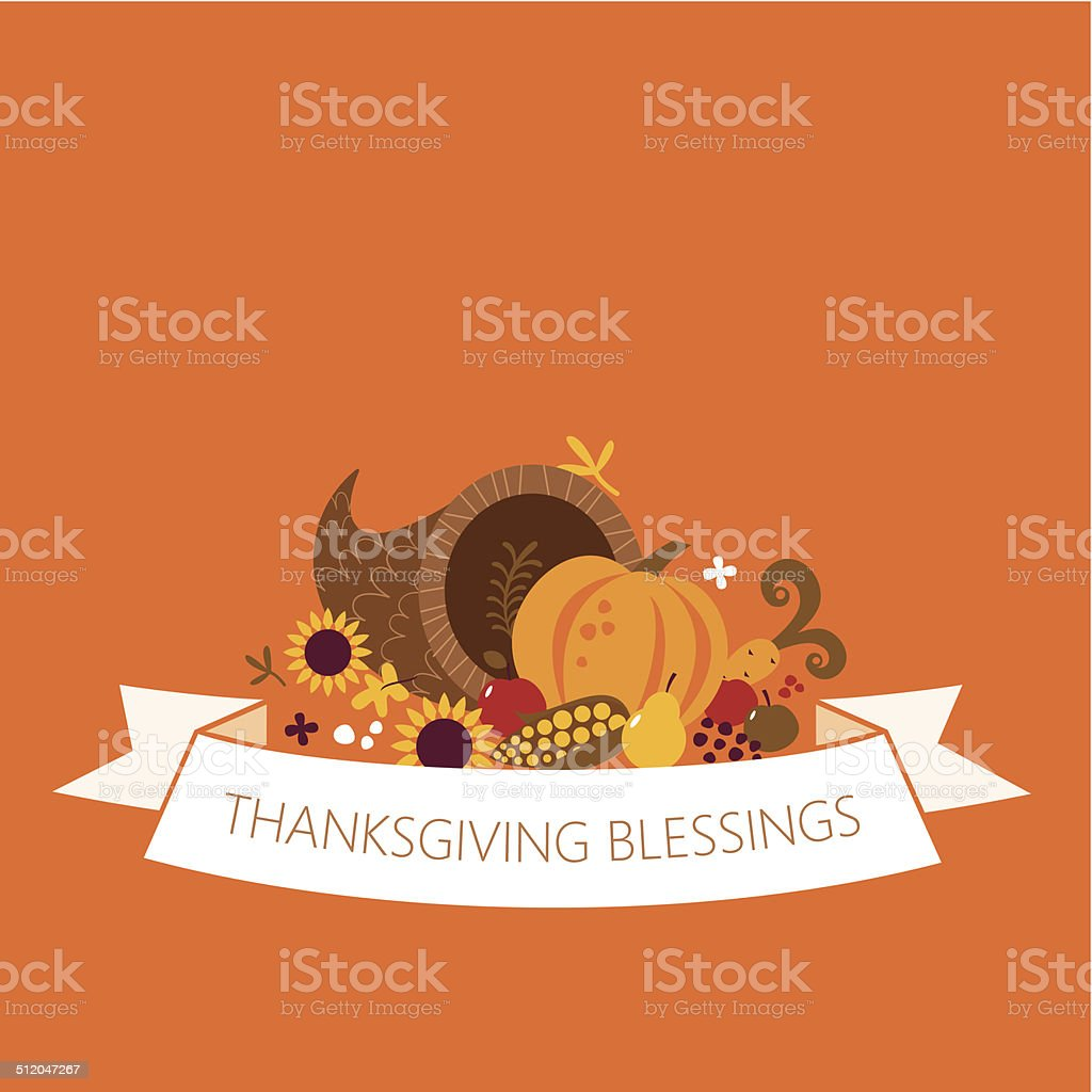 Happy Thanksgiving cornucopia banner vector art illustration