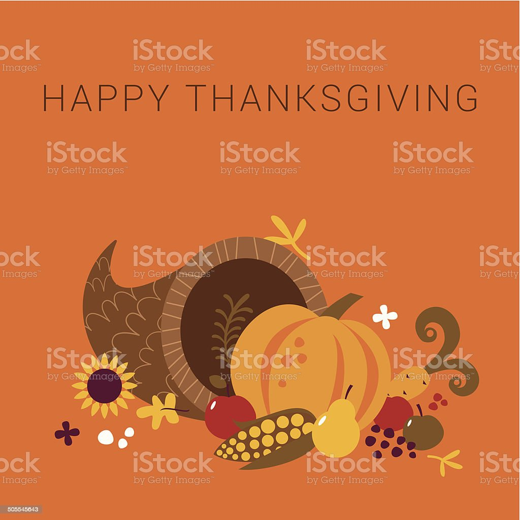 Happy Thanksgiving cornucopia card vector art illustration