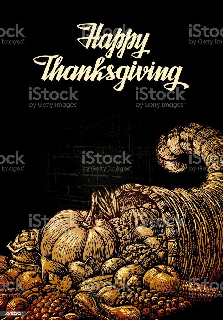 Happy Thanksgiving. Cornucopia or Horn of plenty. Fruits and Vegetables vector art illustration