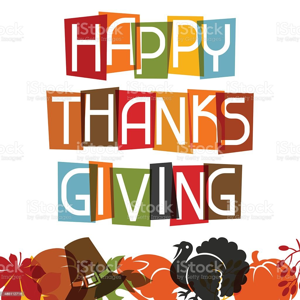 Happy Thanksgiving Day card design with holiday objects vector art illustration