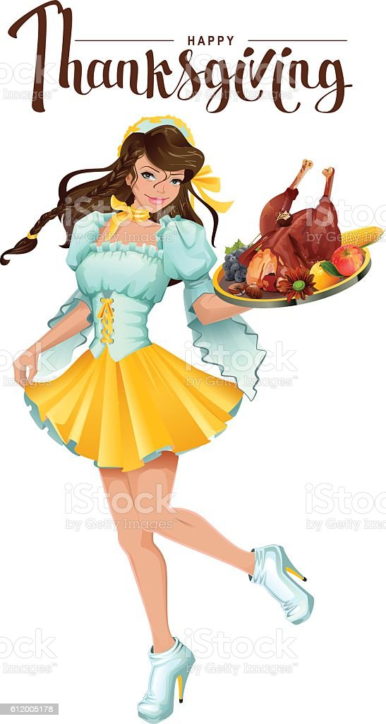 Happy Thanksgiving Day. Cute girl waiter vector art illustration