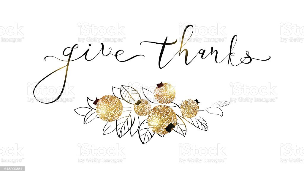 Happy Thanksgiving Day gold glitter design. vector art illustration