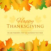 Happy thanksgiving day greeting card. Holiday vector background.