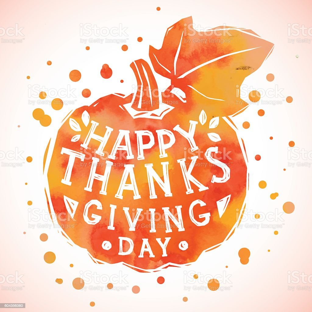 Happy Thanksgiving Day greeting card with pumpkin. vector art illustration