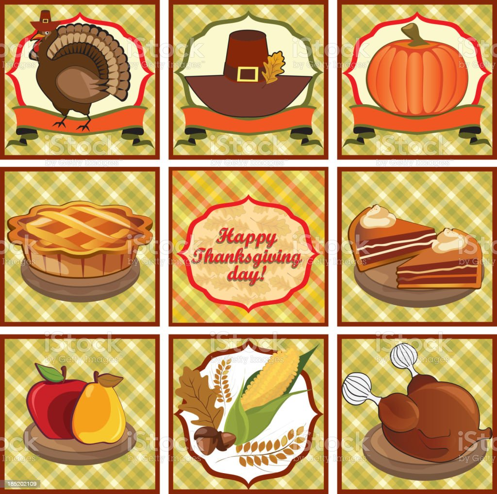 Happy Thanksgiving day label set royalty-free stock vector art
