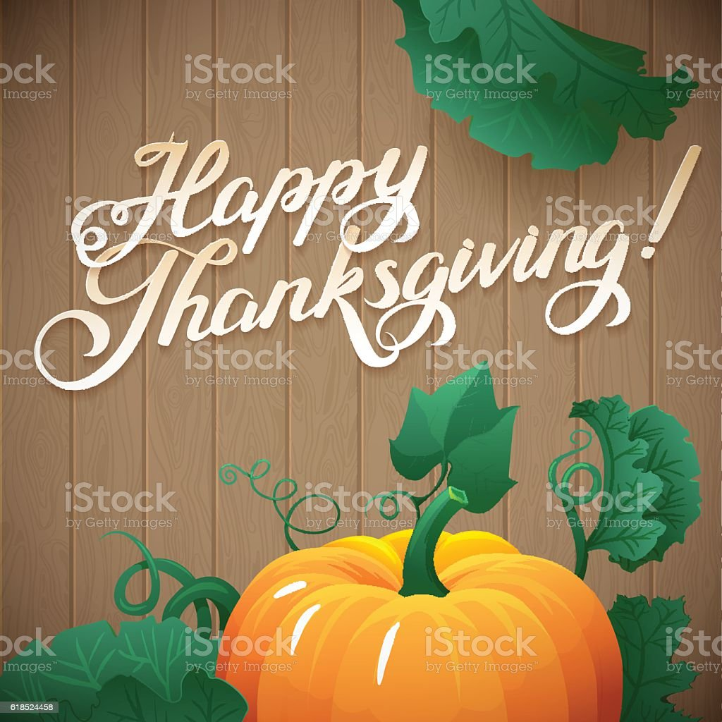 Happy Thanksgiving day leaves and pumpkin banner on wood background vector art illustration
