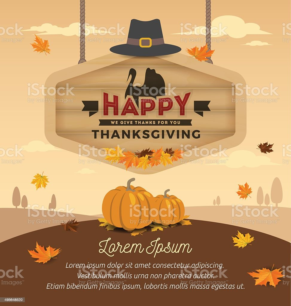 Happy Thanksgiving Day On Wooden Board Hanging. Vector illustration vector art illustration