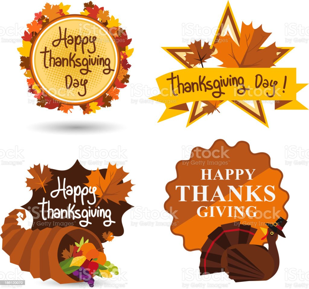 Happy Thanksgiving Day Sign Set vector art illustration