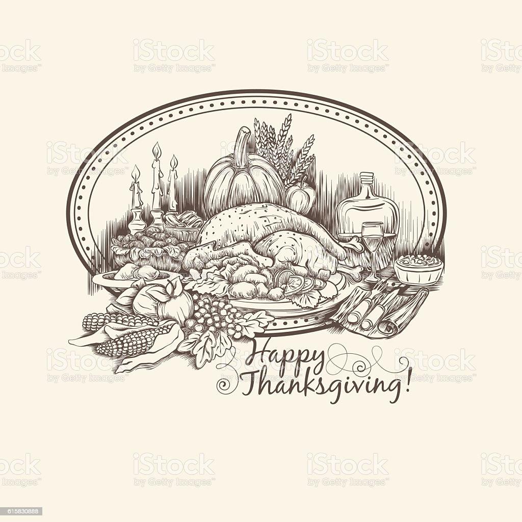 Happy thanksgiving Day vector card template vector art illustration