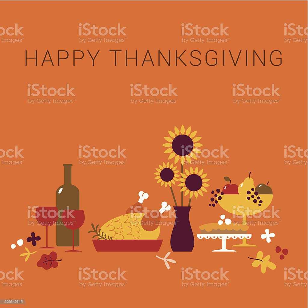 Happy Thanksgiving dinner card vector art illustration
