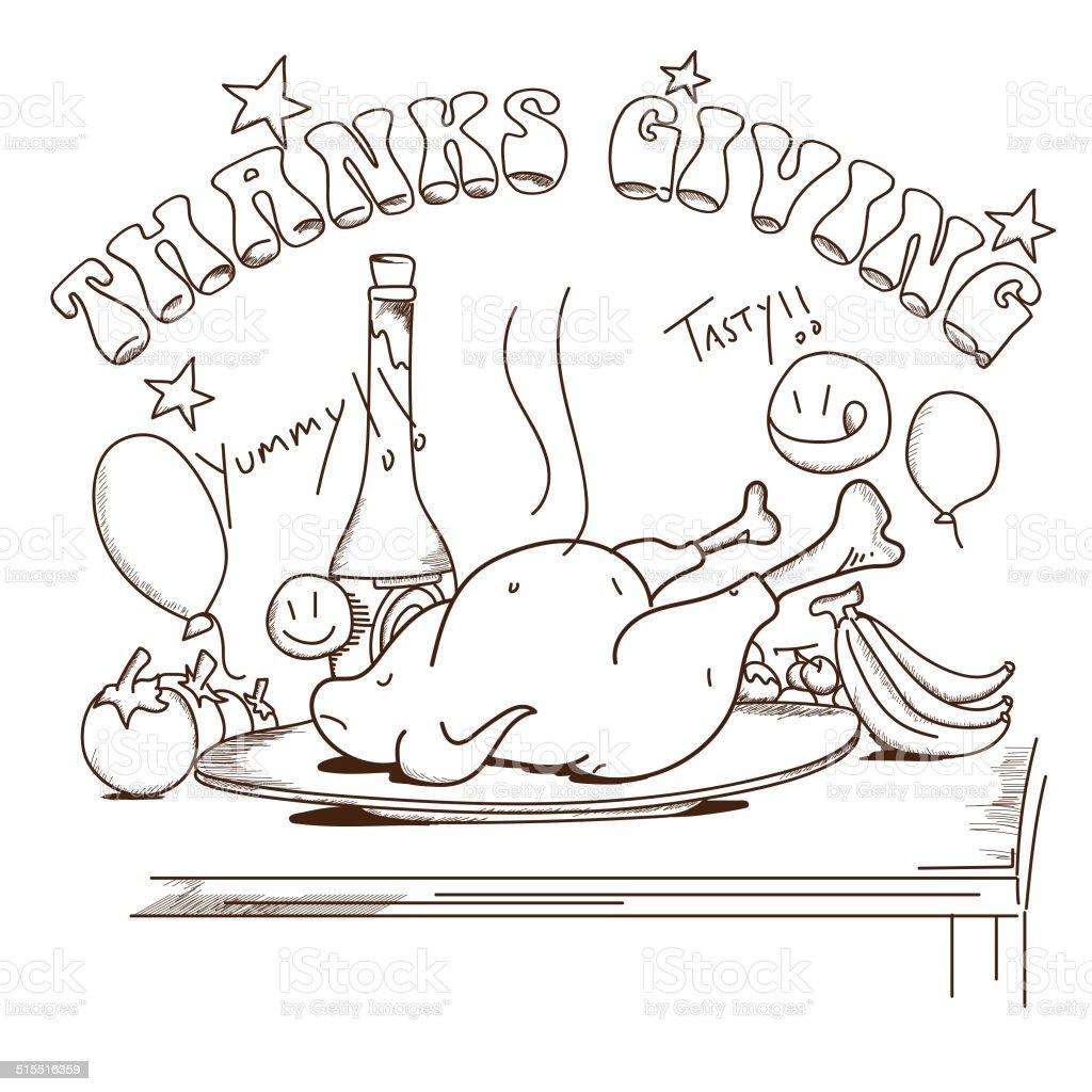 Happy Thanksgiving greeting card or invitation card. vector art illustration