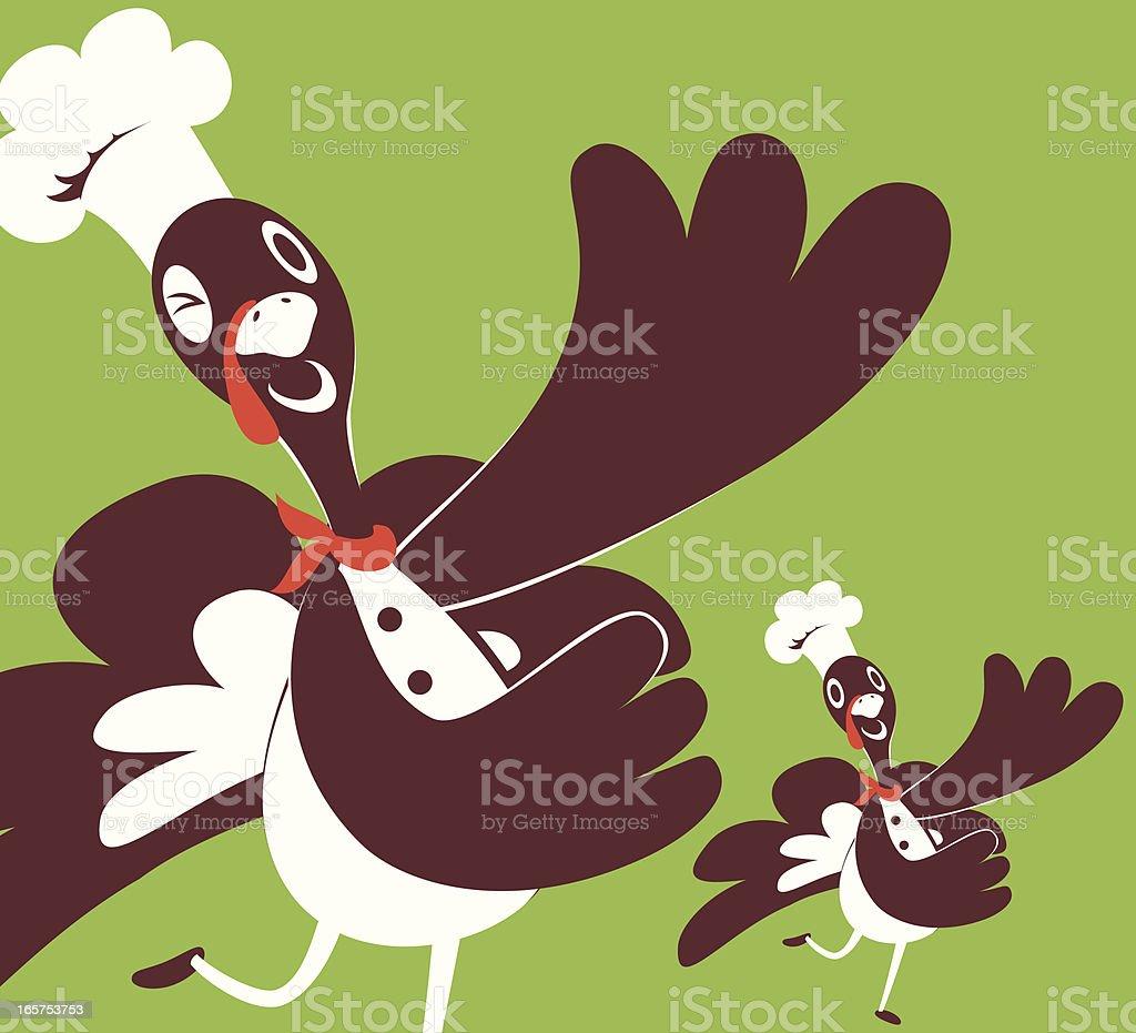 Happy Thanksgiving Holiday Turkey Chef Showing Something vector art illustration
