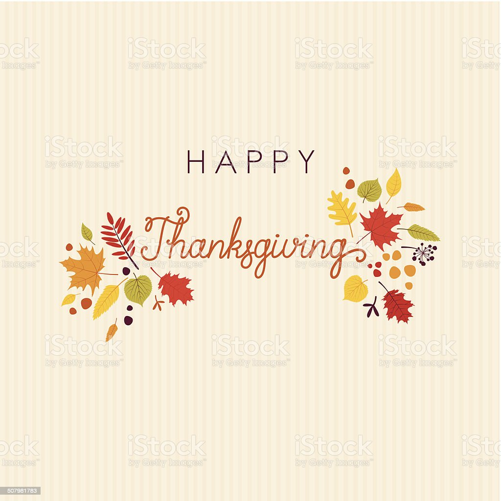 Happy Thanksgiving lettering leaves card royalty-free stock vector art