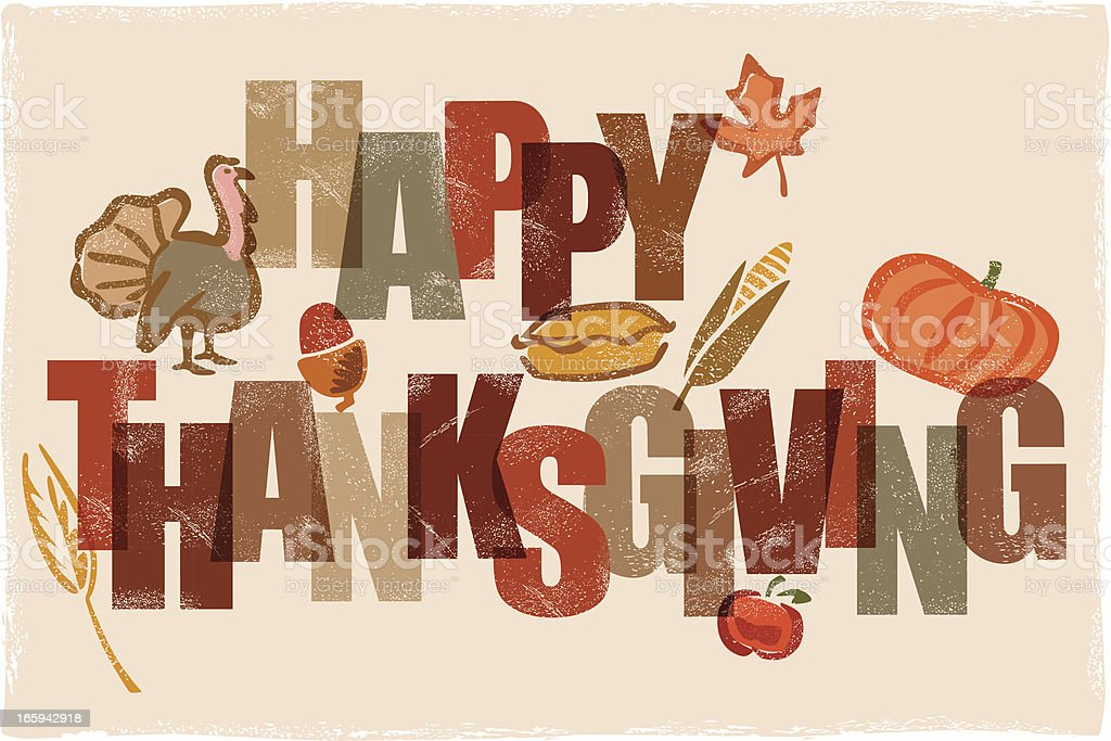 Happy Thanksgiving message illustration royalty-free stock vector art
