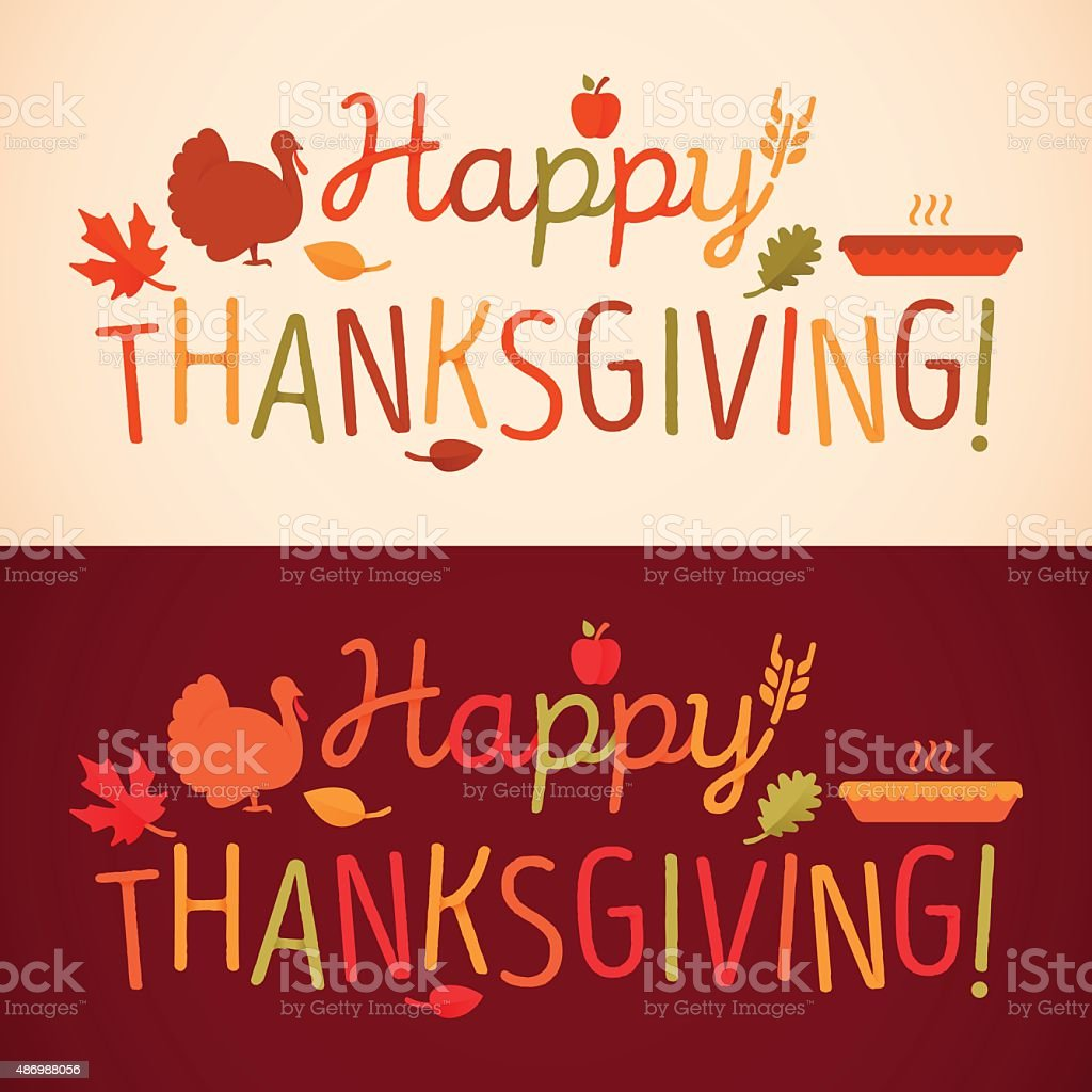 Happy Thanksgiving Message vector art illustration