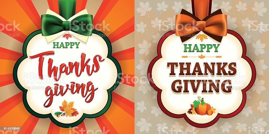 Happy Thanksgiving Set of two greeting cards with satin bows vector art illustration