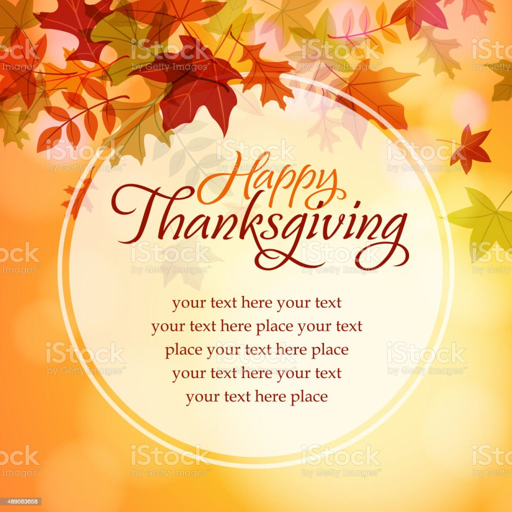 Happy thanksgiving text message vector art illustration