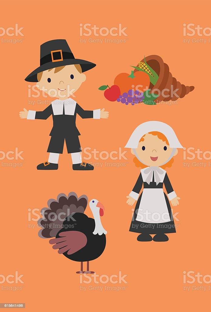 Happy Thanksgiving with Pilgrims vector art illustration